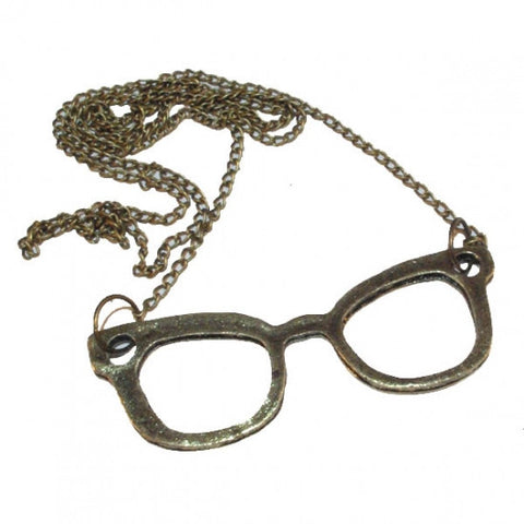 Bronze Tone Iconic Glasses Frame Pendant Necklace