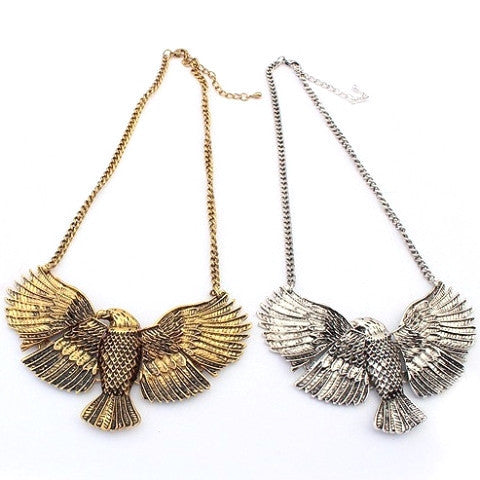 Statement Metal Eagle Necklace (Silver or Bronze)
