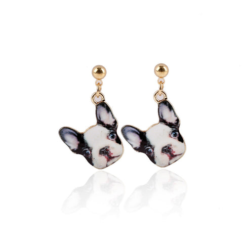 Quirky Black & White Dog Face Ditsy Drop Earrings