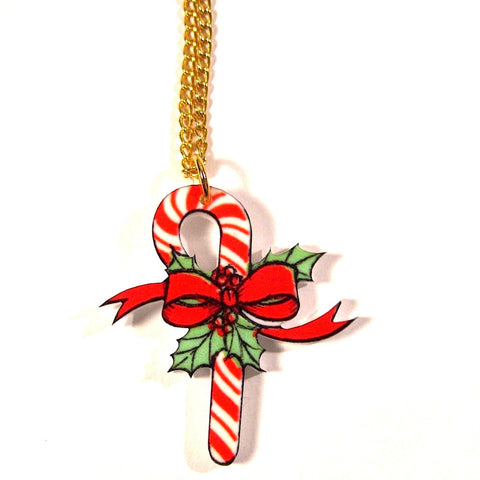 Vintage Style Candy Cane Bow Christmas Pendant