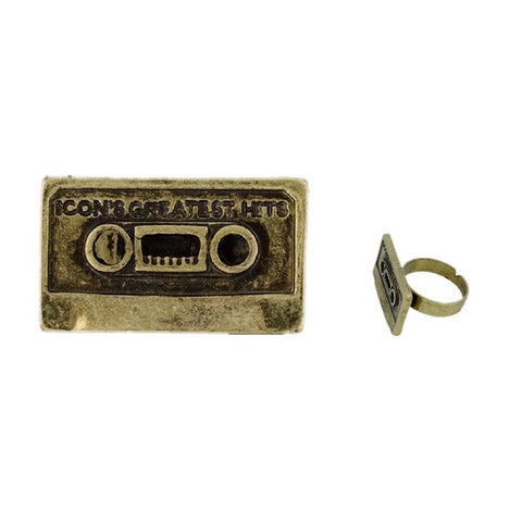 Retro Golden Cassette Tape Greatest Hits Ring