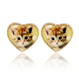 Adorable Ditsy Kitty Cat Heart Stud Earrings