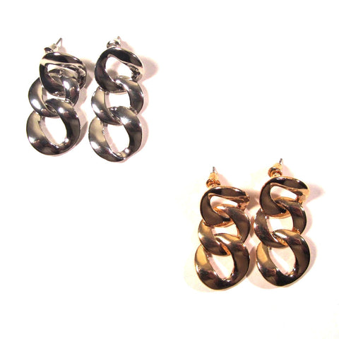 Chunky Chain Links Gold or Silver Tone Earrings