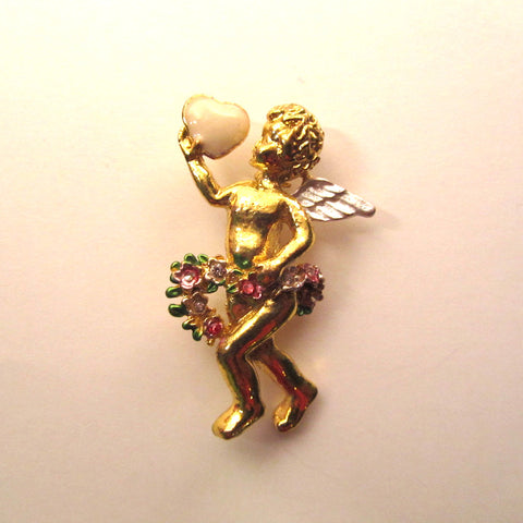 Splendid Golden Winged Cherub Brooch