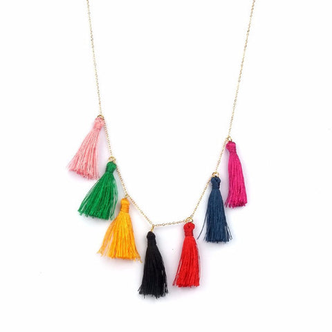 Fun Colourful Tassels Fashion Trend Charms Necklace