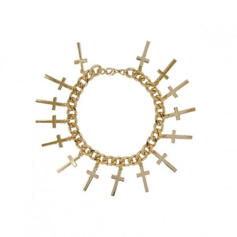 Golden Multi Cross Chunky Chain Bracelet