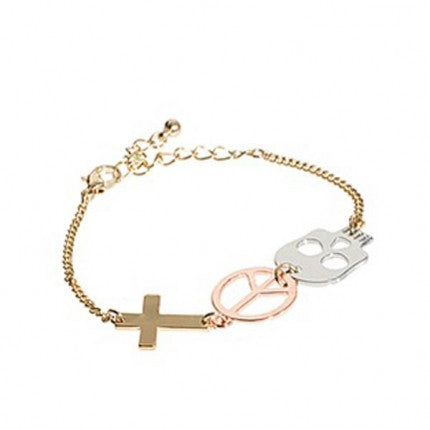 Cross Peace and Skull Symbol Bracelet