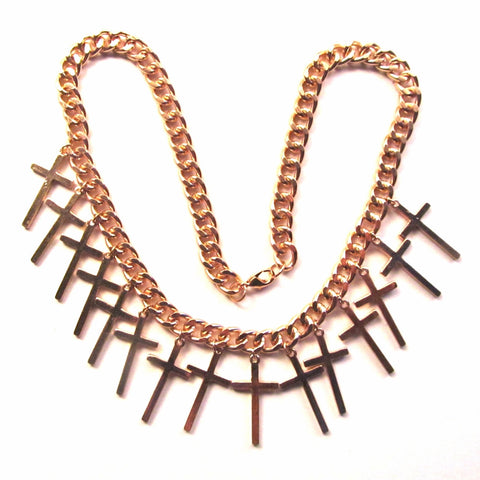 Gold Tone Multi Cross Statement Chunky Chain Necklace