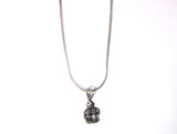 Pretty Silver Crown and Snake Chain Pendant