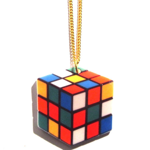 Large Rubik's Cube Print Acrylic Necklace