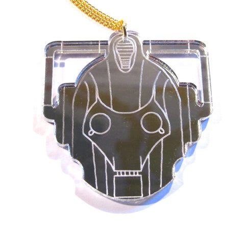 Large Silver Mirror Doctor Who Style Cyberman Pendant Necklace