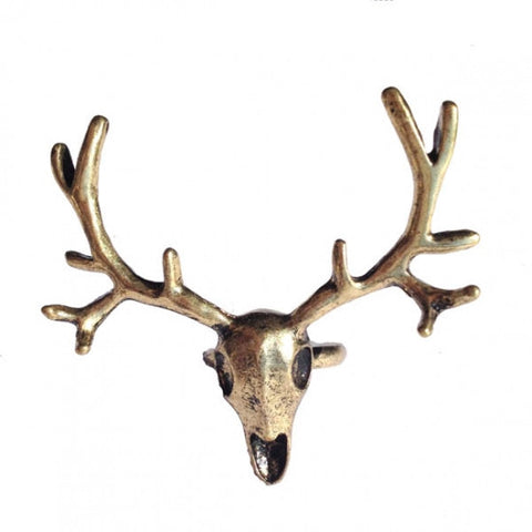 Statement Antique Gold Tone Deer Head Skull Ring