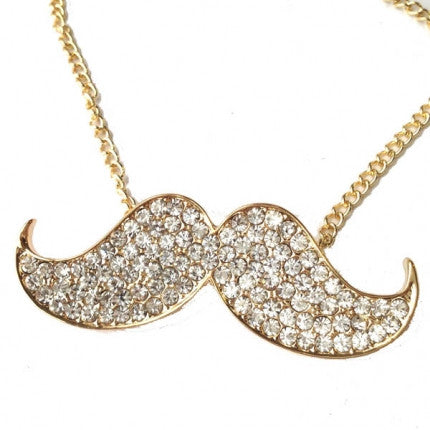Diamante Style Golden Moustache Necklace - not just for Movember!