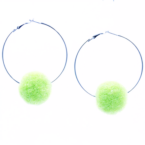 Single Pom Pom Large Hoop Earrings – Light Green