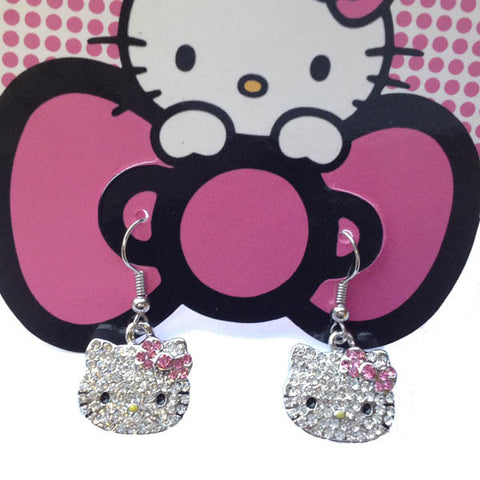 Pretty Hello Kitty Style Crystal Dainty Drop Earrings