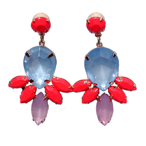 Pretty Clear Blue Lilac and Fluorescent Red Gem Earrings