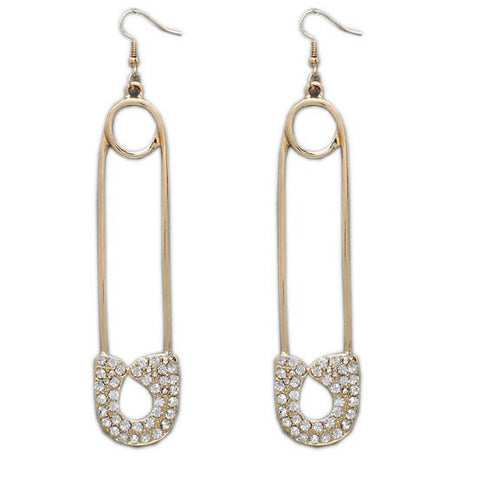 Cool Gold Tone Diamante Safety Pin Earrings