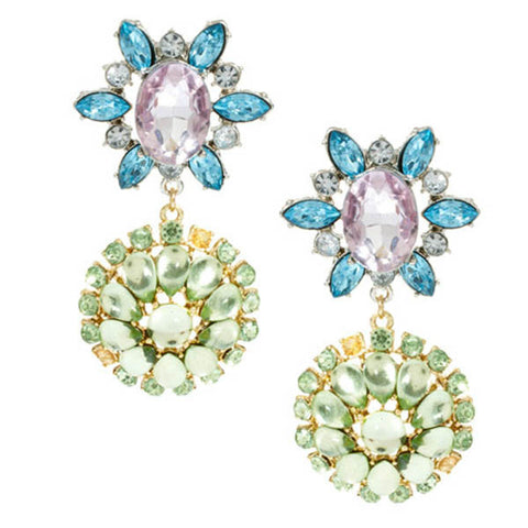 Stunning Statement Gemstones Flower Drop Earrings