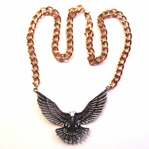 Silver 3D Eagle on Big Chunky Gold Chain Necklace