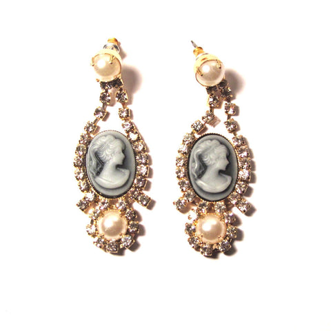 Pearl Diamante Cameo Drop Earrings
