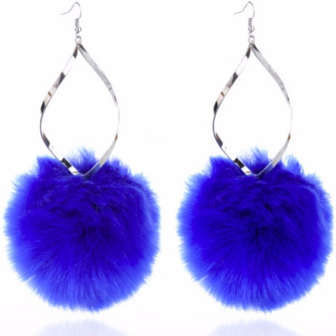 Statement Large Fluffy Blue Pom Pom Drop Earrings