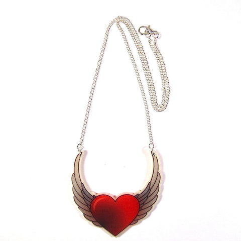 Heart and Wings Tattoo Style Acrylic Pendant