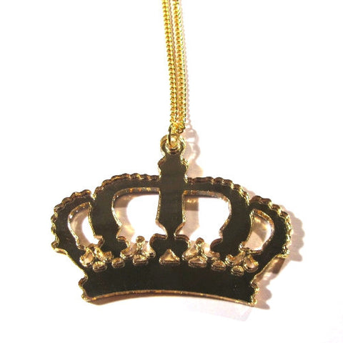 Stunning Large Gold Mirror Crown Acrylic Necklace
