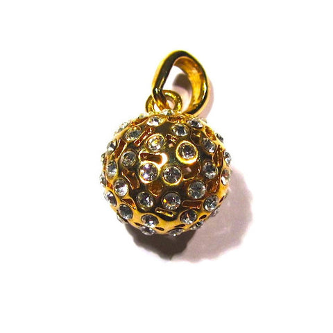 Pretty Gem Studded Gold Tone Hollow Pendant