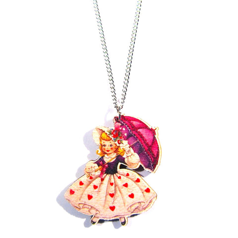 Pretty Vintage Style Girl With Parasol Printed Wooden Necklace