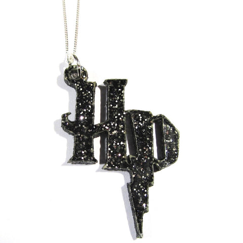 Black Glitter Harry Potter Style Symbol Pendant on Silver Chain