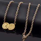 Gold Tone Double Coin Fashion Trend Necklace