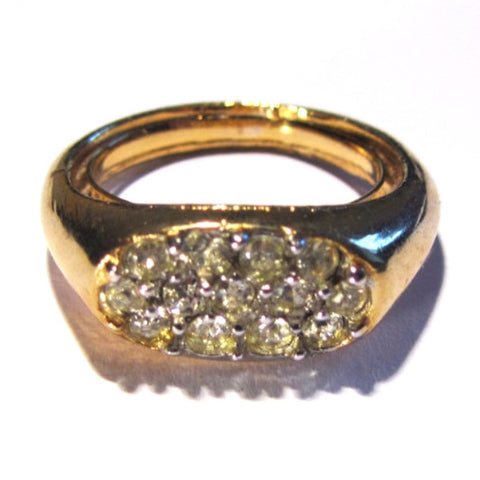 Gold Tone Crystals Set Ring