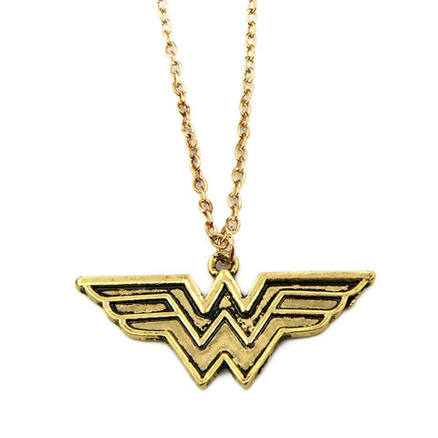 Golden Wonder Woman Insignia Dainty Pendant Necklace