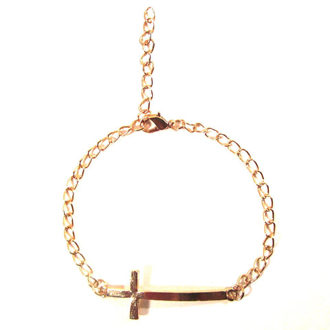 Slim Gold Cross Chain Bracelet