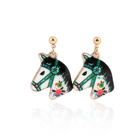 Colourful Kitsch Painted Fairground Horse Head Earrings – Green