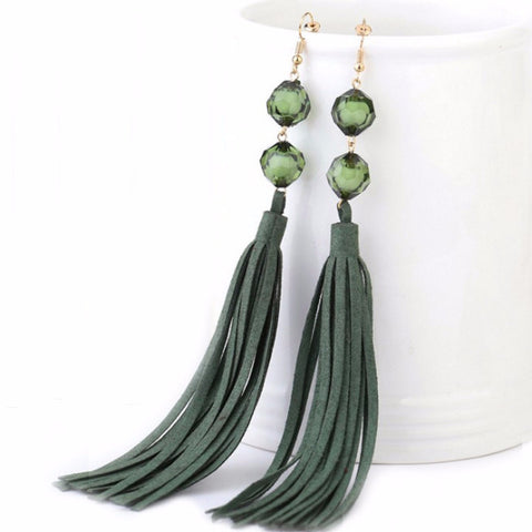 Long Statement Beaded Green Tassel Statement Drop Earrings