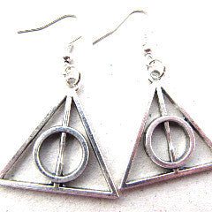 Harry Potter Deathly Hallows Style Symbol Drop Earrings