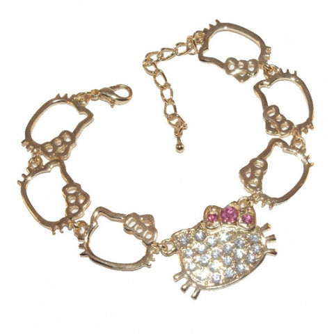 Hello Kitty Shapes Gold Diamante Bracelet