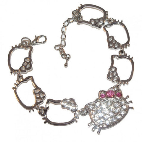 Hello Kitty Shapes Silver Diamante Bracelet