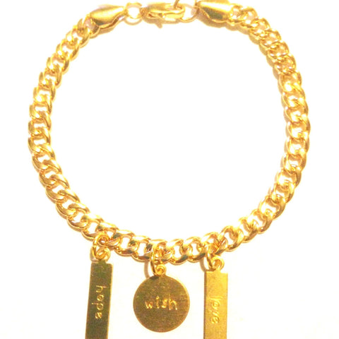 Brass Hope Wish Love Golden Charm Bracelet