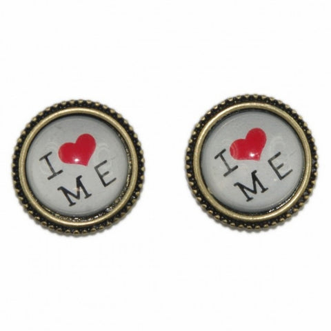 Cheeky 'I Love Me' Bronze Tone Stud Earrings