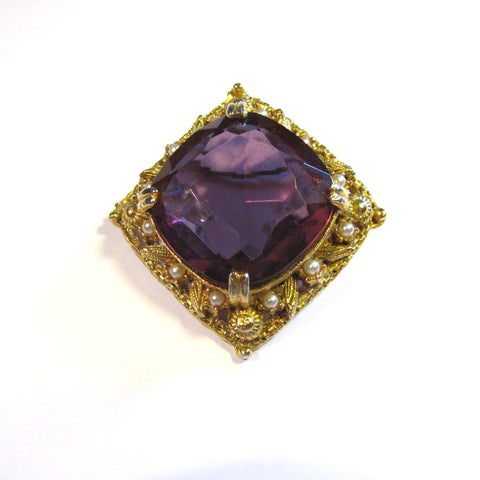 Vintage Ornate Heavy Golden Pink Gemstone Pearls Brooch
