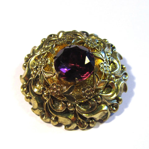 Vintage Decorative Golden Purple Gem Stone Circular Brooch