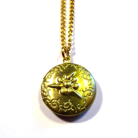 Embossed Floral Golden Round Locket Pendant