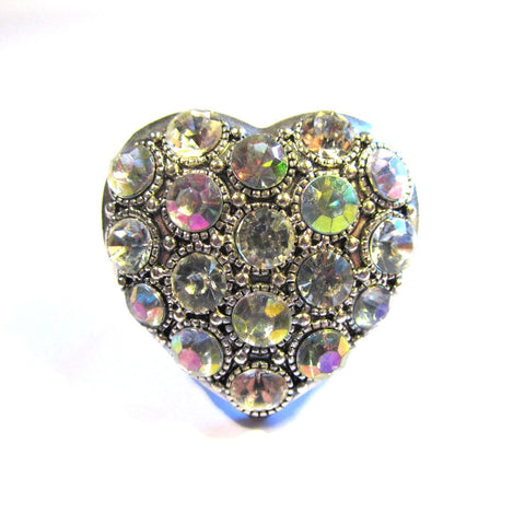 Statement Bling Silver Tone Iridiscent Stones Heart Ring