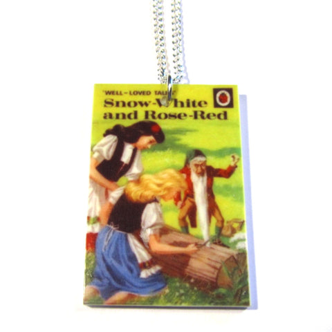 Snow White and Rose Red Ladybird Book Print Retro Necklace