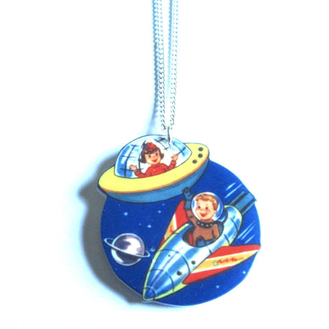 Sweet Vintage Style Kids in Retro Spaceship Rocket Pendant