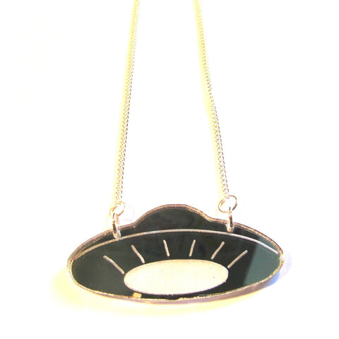 Silver Mirror Acrylic UFO Flying Saucer Retro Necklace