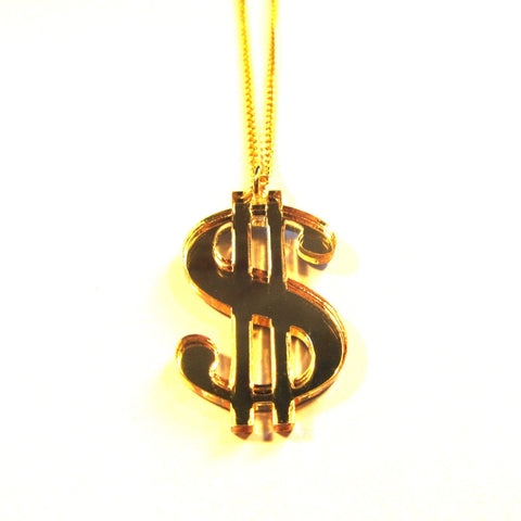 Gold Mirror Acrylic Dollar Sign Necklace – Hip Hop, Rap, Urban