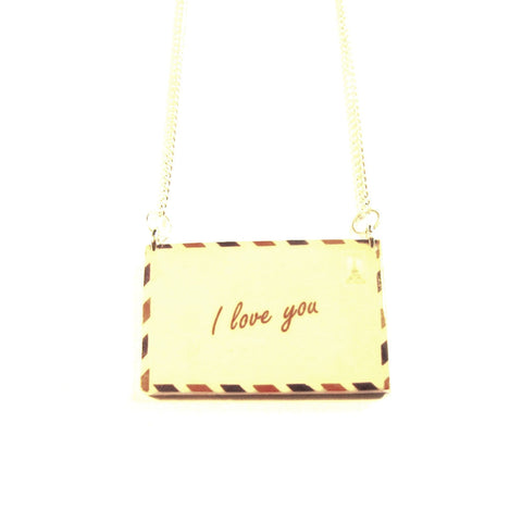 'I Love You' Airmail Envelope Acrylic Necklace